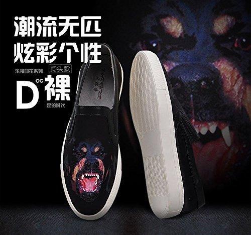 Happyshop (tm) Mens Fashion 3d Utskrift Skinn Moccasin Loafer Leiligheter Slip-on Driving Sko Hund Stil