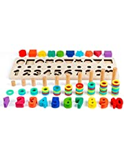 D-FantiX Math Blocks, Shape Sorter Wooden Stacking Toys Ring Counting Number Stacker for Toddlers Puzzle Board Game Math Toys Preschool Learning Educational Tools