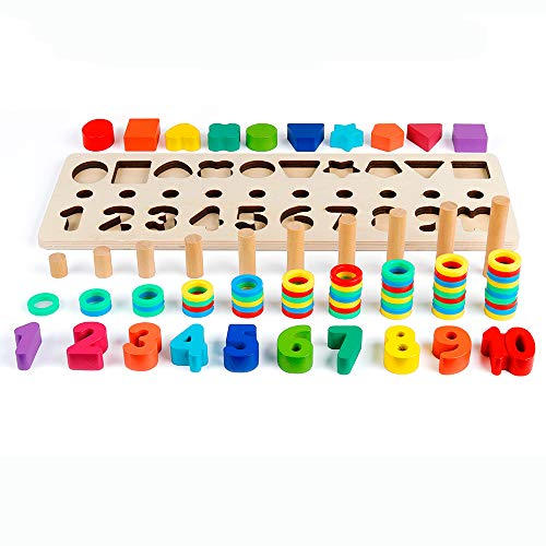 (D-FantiX Wood Sorting Puzzles Toys Shape Color Sorter Math Stacking Blocks Counting Numbers 0-10 Ring Stacking Montessori Toys for Toddlers Kids Early Education Preschool Learning Toys)