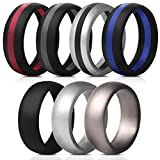 Saco Band Mens Silicone Rings Wedding Bands - 7 Pack