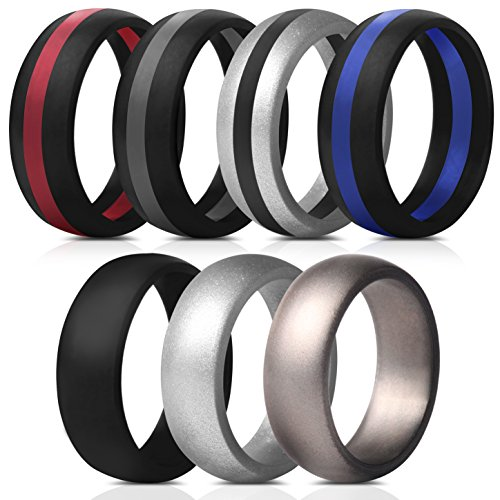 Saco Band Mens Silicone Rings Wedding Bands - 7 Pack (Middle Line Blue Red Black Gray, Silver, Dark Silver, Black, 9.5 - 10 - Dark Blue Gray