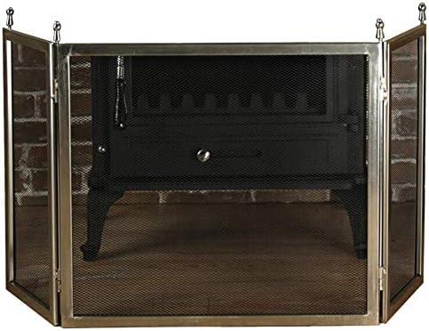 暖炉スクリーン 3パネル 暖炉スクリーン 暖炉のドアメッシュ、 火の場所 フラットガードゲート 直火用/ガスストーブ/ログウッドバーナー