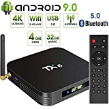Android 9.0 TV Box,Pendoo TX6 Android TV Box 4GB DDR3 32GB EMMC Dual WiFi 2.4G+5G BT5.0 Quad Core 3D 4K Ultra HD H.265 USB3.0 Android TV Box