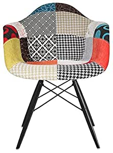 2xhome - Multi-color – Modern Upholstered Eames Style Armchair Fabric Chair Patchwork Multi-pattern Dark Black Wood Wooden Leg Eiffel Dining Room Chair With arm for living room dining room…