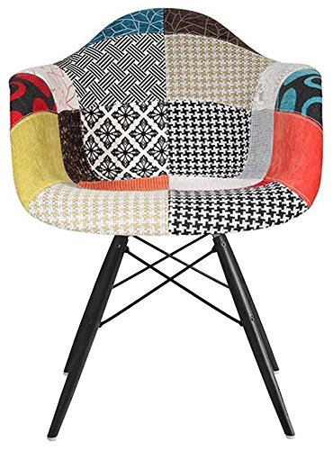 2xhome   Eames Style Armchair Black Wood Legs Eiffel Dining Room Chair    Lounge Chair Arm