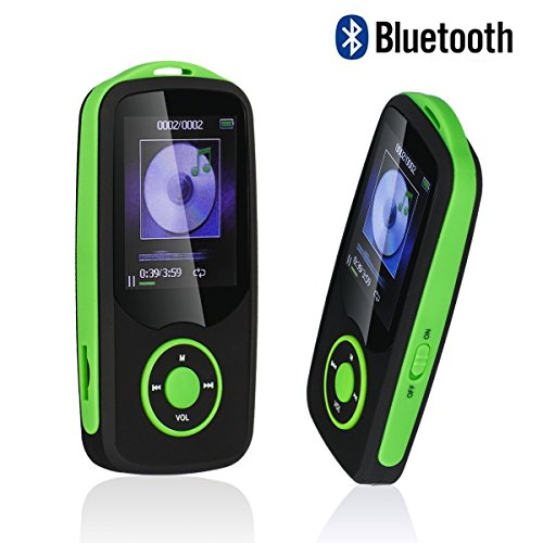 Mp3 Player with Bluetooth,Timmy Built in 16GB Portable Digital Music player (Green)