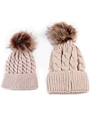 2PCS Parent-child Kint Hat Warmer,1 Pair Mom and Baby Knitting Cap Keep Warm Hat