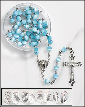 Cat Eye Rosary Crucifix (Mother's Rosary Glass Cat's Eye in Case with Mothers Holy Card and Mysteries Booklet)