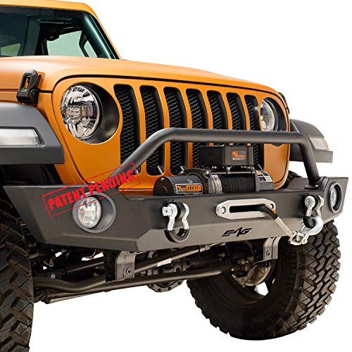 EAG Full Width Front Bumper Offroad with Fog Light Housing for 18-19 Jeep Wrangler JL