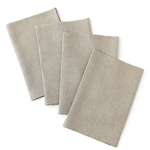 100 Linen Napkins (100% Pure Linen Napkins, 4 Pack Dinner Napkins, 20 x 20 Inch Linen Napkins, Natural, Soft and Crafted with Mitered Corners, Natura Collection by Solino Home)