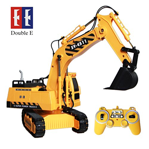 DOUBLE  E Remote Control Excavator Toys Construction Trucks 1:20 Scale RC Excavator Tractor Toy with Lights & Sounds 2.4Gh