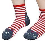 Baomabao Women 3D Animals Striped Cartoon Socks Cat Footprints Cotton Socks (Red)