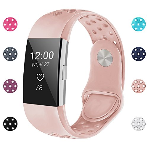iGK Silicone Replacement Bands Compatible for Fitbit Charge 2, Adjustable Breathable Sport Strap Smartwatch Fitness Wristband with Air Holes with Clsap Pink Small