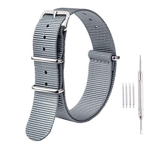 Ritche Premium NATO Strap 18mm 20mm 22mm Nylon Replacement Watch Band for Men Women (Gray, 18mm)