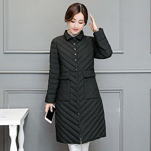 Coat DYF Down Black Color Lapel Jacket Color Medium Length Solid L Solid Pocket xnE1COgnw