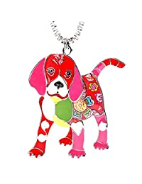 Beagle Puppy Pendant Necklace for Women Dog Lover Jewelry Gifts With Stainless Steel Box Chain