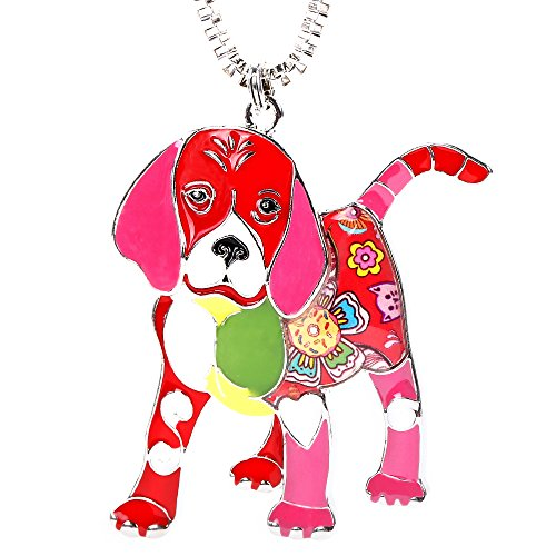 Dog Lovers Beagle Puppy Pendants Necklace with 22'' Stainless Steel Box Chain Gifts for Women
