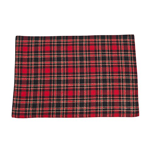SARO LIFESTYLE 4-Piece Plaid Design Placemat Set, 13 by 19-Inch, Red, Oblong