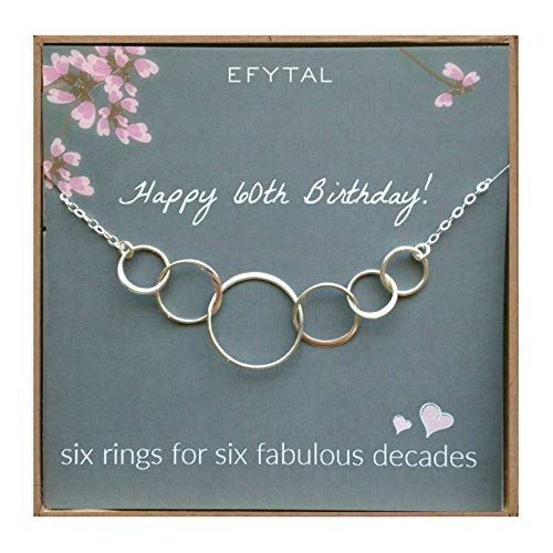 EFYTAL 60th Birthday Gifts for Women, Sterling Silver Six Circle Necklace for Her, 6 Decade Jewelry 60 Years Old