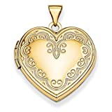14k Yellow Gold Heart Locket with Diamond Cut Engraving