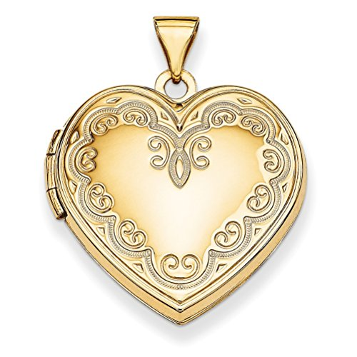 14k Yellow Gold Heart Locket with Diamond Cut Engraving by The Men's Jewelry Store (for HER)