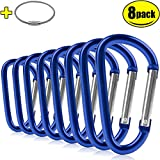 """ZEINZE Carabiner Clip 3"""" Aluminum D-Ring Spring Loaded Gate Small Keychain Carabiners Clip Set for Outdoor Camping Mini Lock Hooks Spring Snap Link Key Chain Durable Improved Design 8 Pack"""