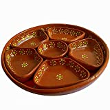 Mexican Salsera de Barro 3-Section Bowls Salsa Chips Guacamole Nuts Condiment Server Traditional Clay Party Dish Lead Free Made in Mexico
