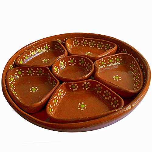 Salsa Server - Mexican Salsera de Barro 3-Section Bowls Salsa Chips Guacamole Nuts Condiment Server Traditional Clay Party Dish Lead Free Made in Mexico
