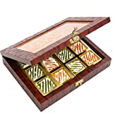 Ghasitaram Gifts Diwali Gifts - Diwali Sweets-Lazer Orange Wooden Jewellery box with 12 Pcs Assorted Mango Bites
