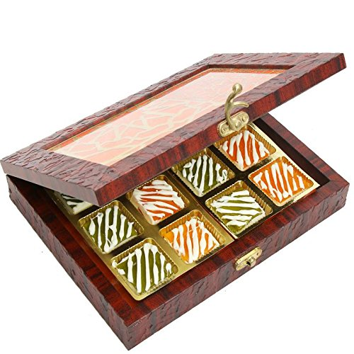Ghasitaram Gifts Diwali Gifts - Diwali Sweets-Lazer Orange Wooden Jewellery box with 12 Pcs Assorted Mango Bites by Ghasitaram Gifts