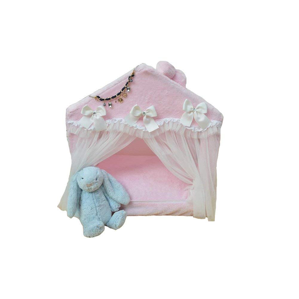 Pink Large Pink Large Pink Large Pet Bed Bed and Breakfast FS -554 Lace Bow Cats e Kennells Pet House Four Seasons Universal Remable Wash Easy Installation (Colore: Pink, Dimensione: M) (Colore:Pink, Dimensione: Grande)