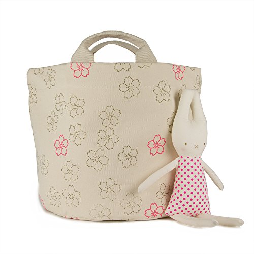 - Fluf Organic Cotton Tote Bag & Storage Bin, Cherry Blossom/Small