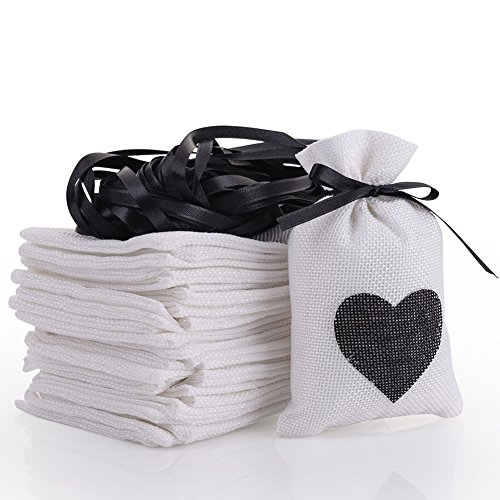 handrong 30pcs Burlap Bags Gift Pouches Heart Small Candy Jewelry Storage Package Sack for Wedding Bridal Shower Birthday Party Christmas Valentine's Day Favors DIY Craft, 5.5x3.7 inch (Black) by handrong