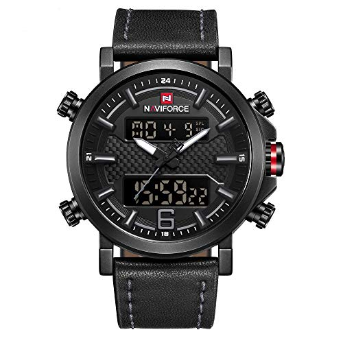NAVIFORCE Analog Digital Watches Waterproof Men Sport Dual Display Luxury Watches Chronograph Quartz Leather Wrist Watch