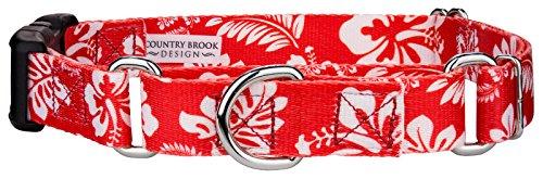 Hawaiian Dog Collar Collars - Country Brook Petz | Red Hawaiian Martingale with Deluxe Buckle - Small