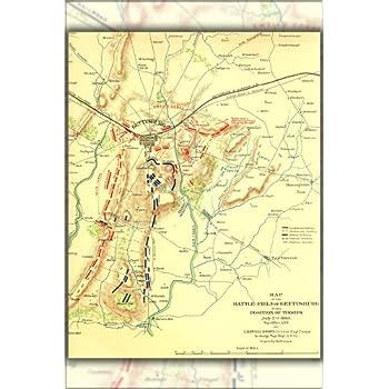 Gettysburg Topographic Map.Amazon Com Gettysburg Topographical Map Battle Of Gettysburg 24