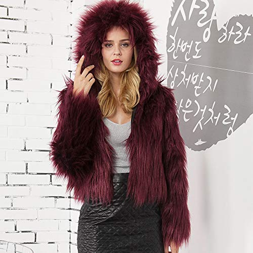 Pengy--Blouse PENGYGY Women's Short Hooded Faux Fur Parka Jacket Coat Outerwear Overcoat by Pengy--Blouse (Image #3)
