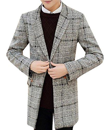 Alion Men's Casual Single-breasted Plaid Woolen Overcoat 1 XXL