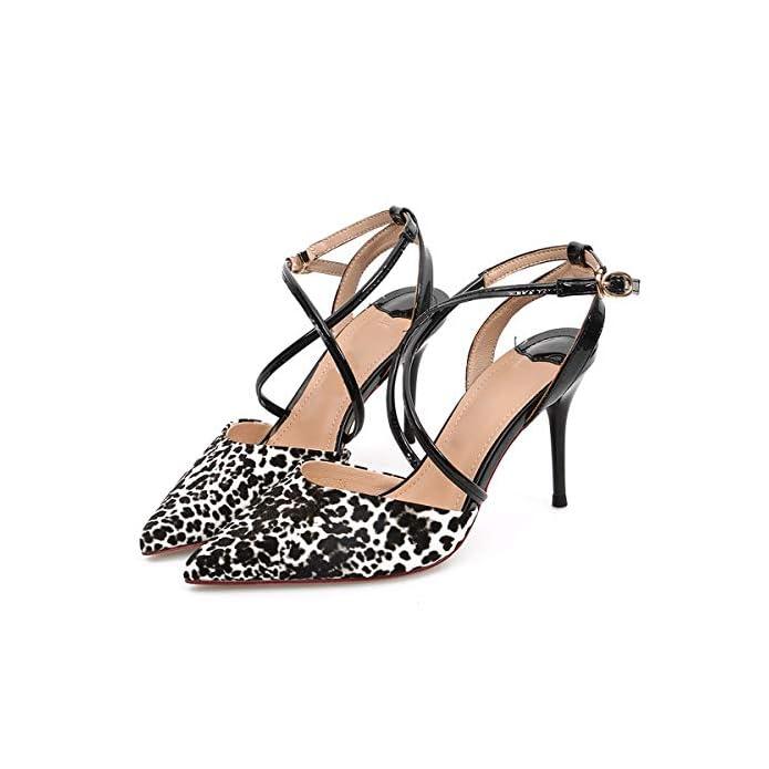 Donna Croce Sandali Sexy Fibbie A Magri Kphy-8cm Leopardato Scarpe Alti E Tacchi Da Con Dietro Baotou