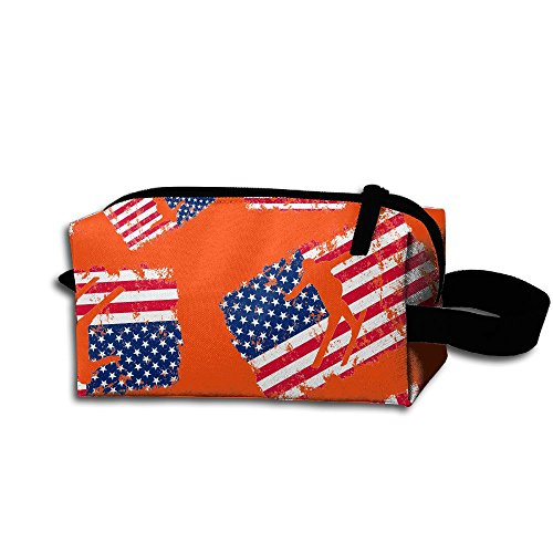 Nordic Two American Flag Flower Floral Handbag Travel Storage Portable Bags With Zipper