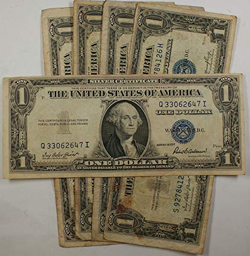- Lot of 5 Old 1935 One $1 Dollar Bills Silver Certificates VG-VF Vintage Notes - Rare for Collectors (Only 1 Sets Left)