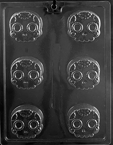 Grandmama's Goodies H177 Day of the Dead Decorative Skull Halloween Oreo Cookie Chocolate Candy Soap Mold with Exclusive Molding Instructions -
