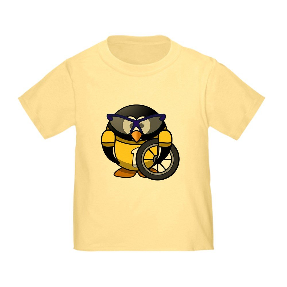 Truly Teague Toddler T-Shirt Little Round Penguin Cyclist in Yellow Jersey