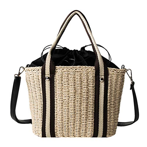 Women's Summer Beach Straw Handbag Shoulder Bags Straw Tote Bags Large Capacity Woven Top Handle Bags for Women SIN+MON