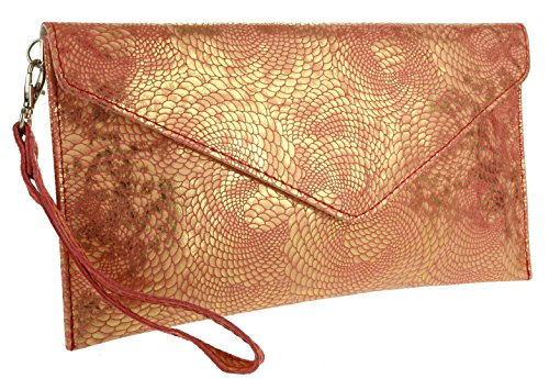 Girly Clutch Red Suede Italian New Bag Envelope Snake Handbags Holographic rA0aqr