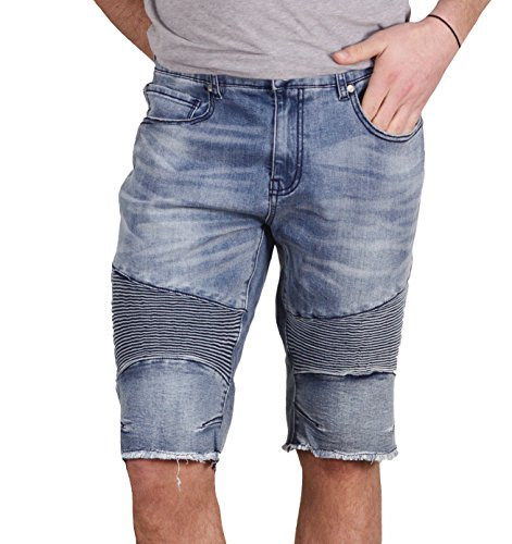 Jordan Craig Denim Moto Shorts by Jordan Craig