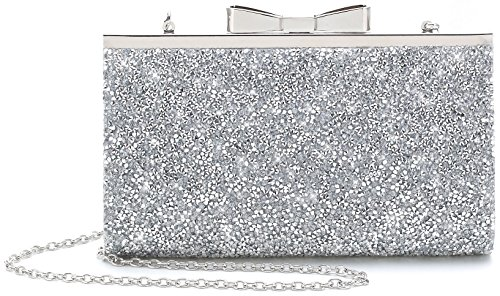 Yuenjoy Womens Rhinestone Clutch Purse Evening Bags with Bow Closure (Silver)