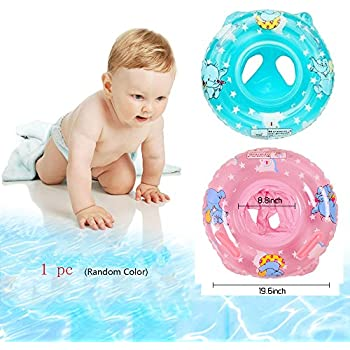Inflatable Baby Float For Kids Toddler Infant,Safety Seat Boat Pool Swimming Ring With Handle,Childrens'First Swim Floaties Water Fun Accessories Early Learning Bath Toy For Girls Boys(Random Color)