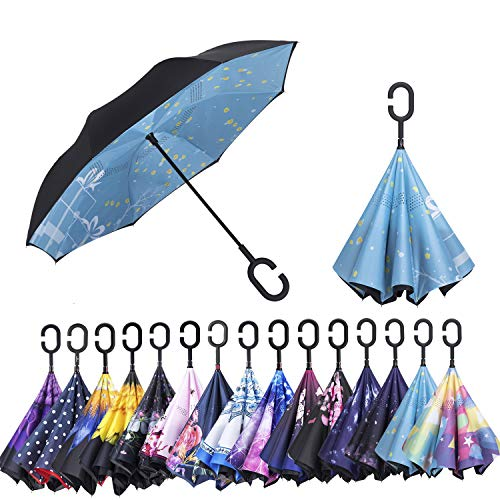 AmaGo Windproof Inverted Umbrella - UV Protection Double Layer Reverse Folding Long Self Standing Umbrella with C-Shape Handle for Car Rain Outdoor Travel (Winter Gift)