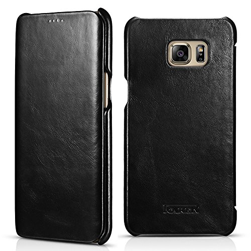 Icarercase Vintage Genuine Leather Wallet Case for Samsung Galaxy S6 Edge Plus 5.7 Inch Mobile Phone Flip Cover Folio Type (For S6 Edge Plus Black)